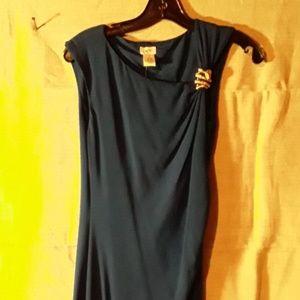 Cache dress royal blue snake wrap asymmetrical